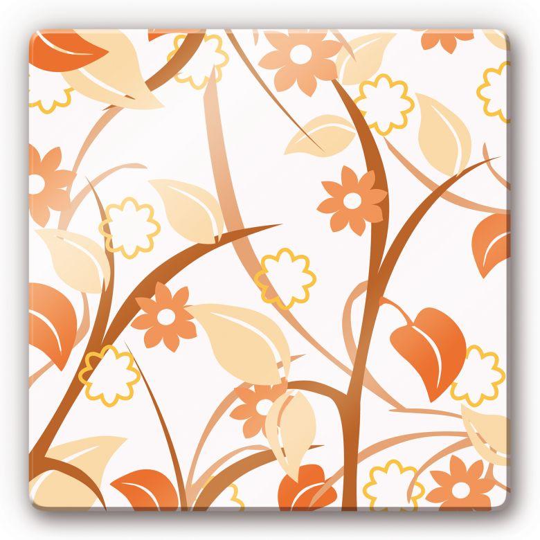 glasbild blumengarten orange sch ne wandbilder mit blumen wall. Black Bedroom Furniture Sets. Home Design Ideas
