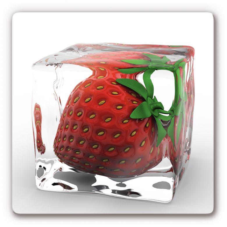glasbild erdbeere im eisw rfel wanddeko f r die k che. Black Bedroom Furniture Sets. Home Design Ideas