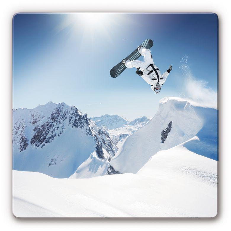 Glasbild Snowboarder - quadratisch
