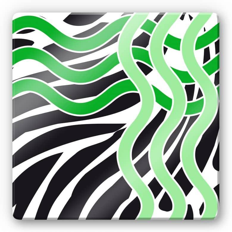 Glasbild Welle grün