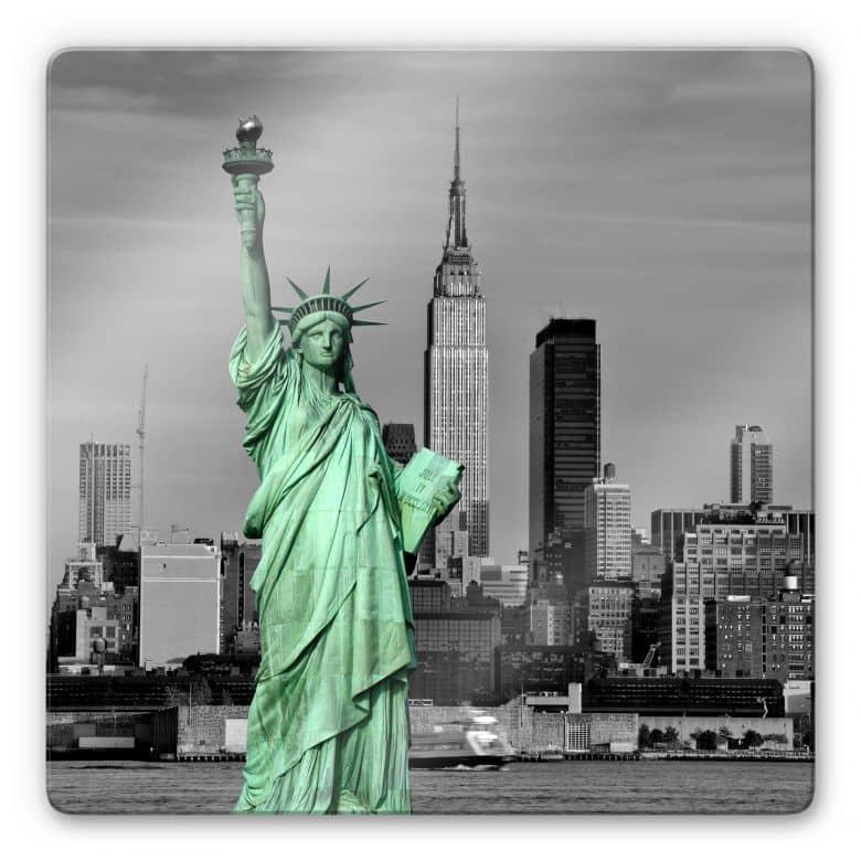 Glasbild Statue of Liberty - quadratisch