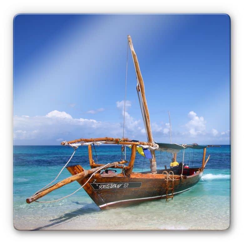 Glasbild Caribbean Sailboat - quadratisch