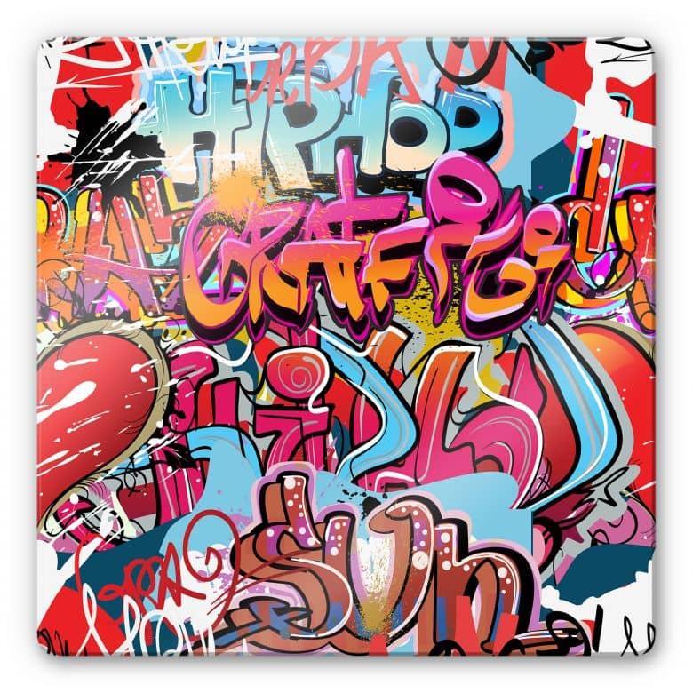 Glasbild Graffiti Hip Hop - quadratisch