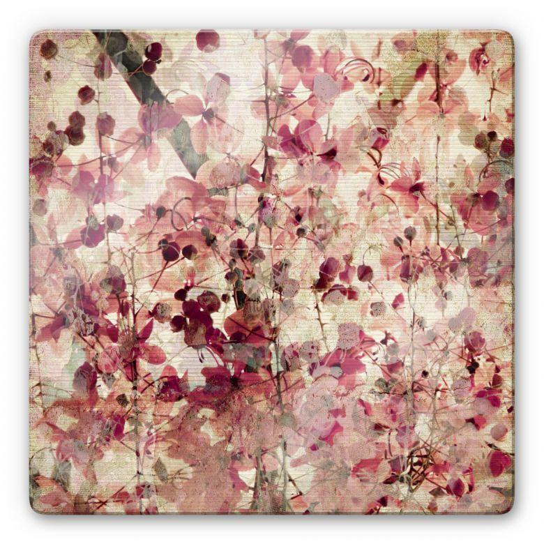 Glasbild Vintage Blütenmuster - quadratisch