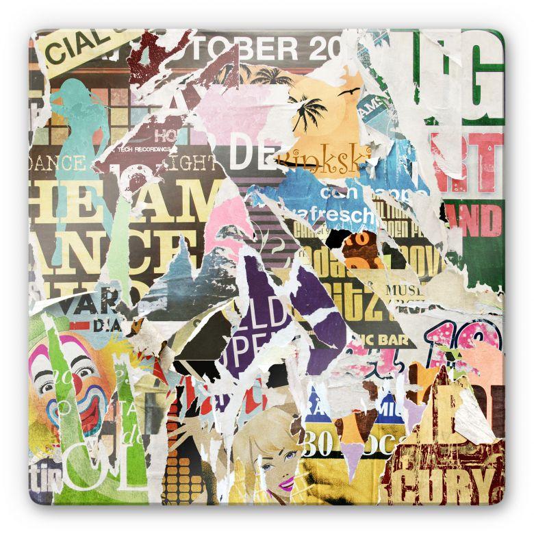 Glasbild Abgerissene Poster 2 - quadratisch