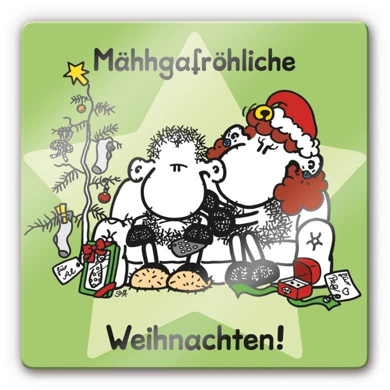 Glasbild sheepworld Mähhgafröhliche Weihnachten!