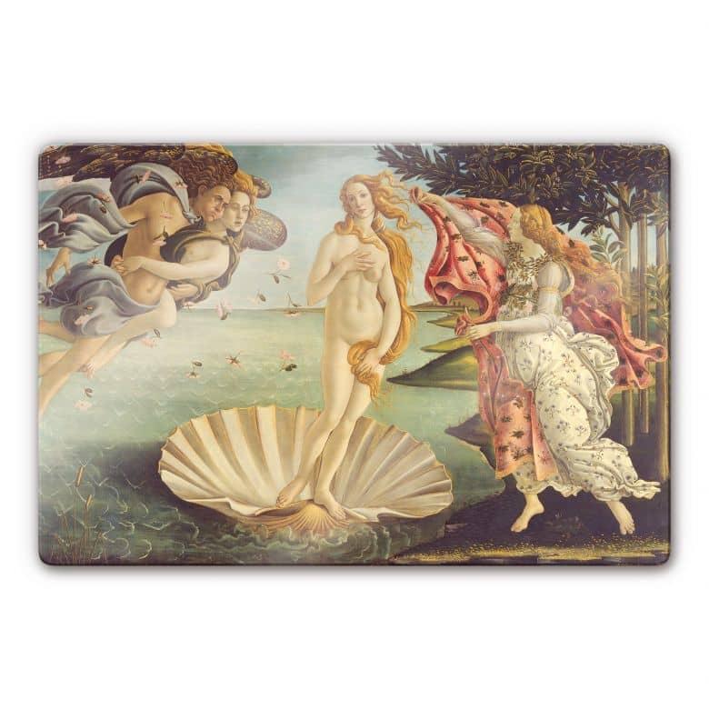Glasbild Botticelli - Geburt der Venus