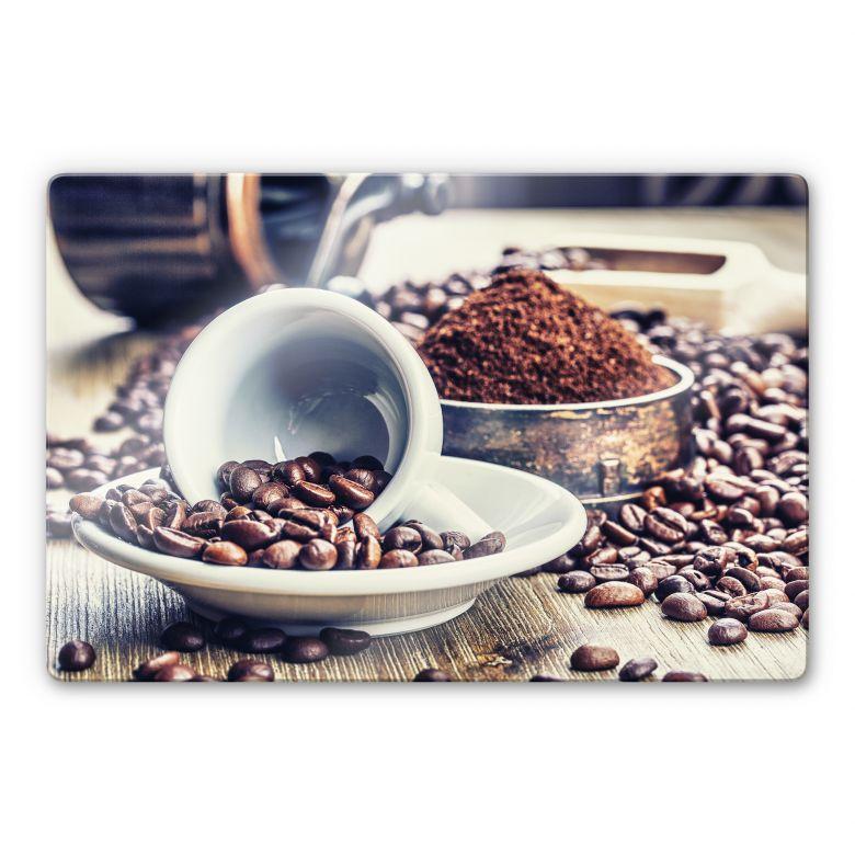 Glasbild Kaffeeträume