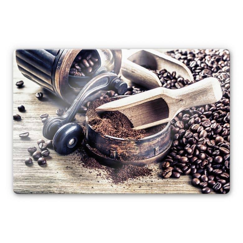 Glasbild Kaffeeduft