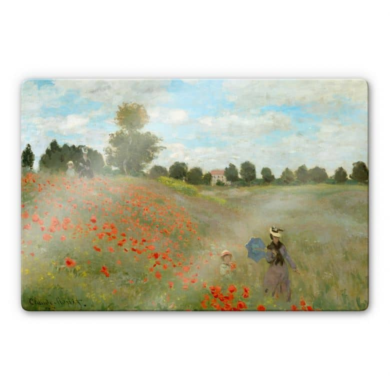 Glasbild Monet - Mohnfeld bei Argenteuil