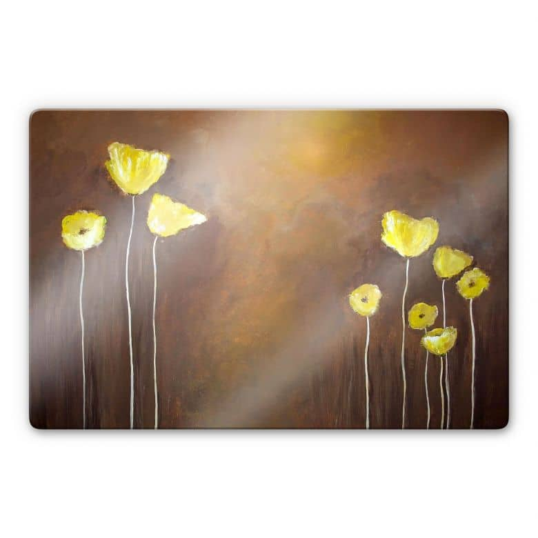 Tableau en verre - Melz - Coquelicot jaune