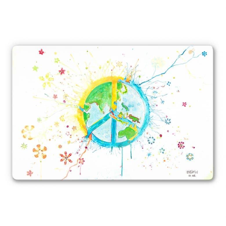 Glasbild Buttafly - Peace