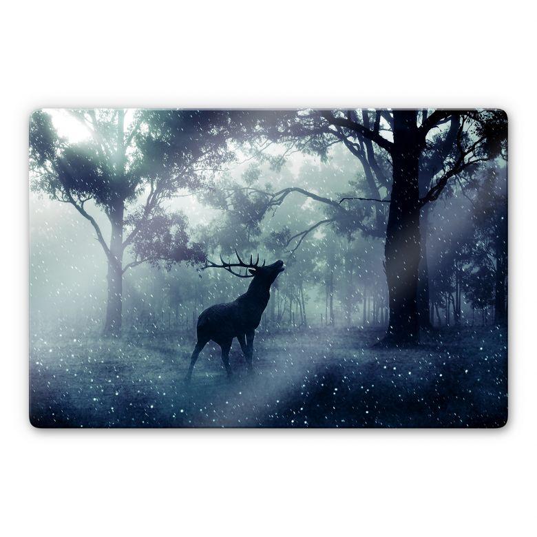 Glasbild Hirsch im Morgenwald
