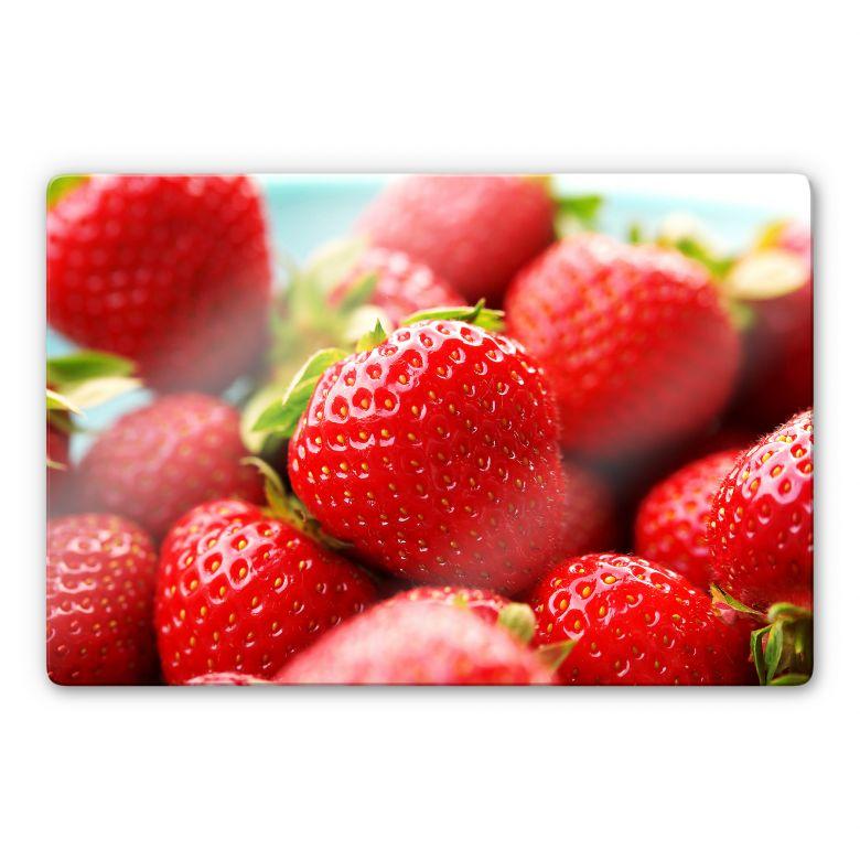 Glasbild Erdbeeren aus dem Garten