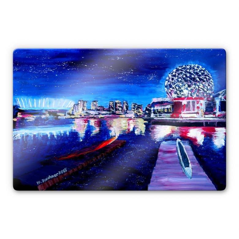 Glasbild Bleichner - Vancouver bei Nacht