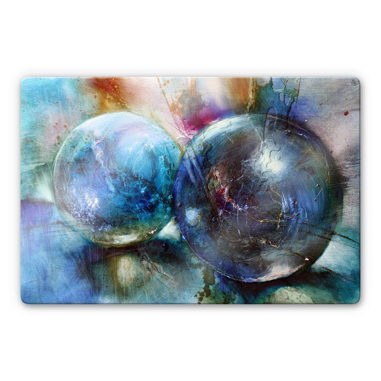 Glasbild Schmucker - Blaue Murmeln
