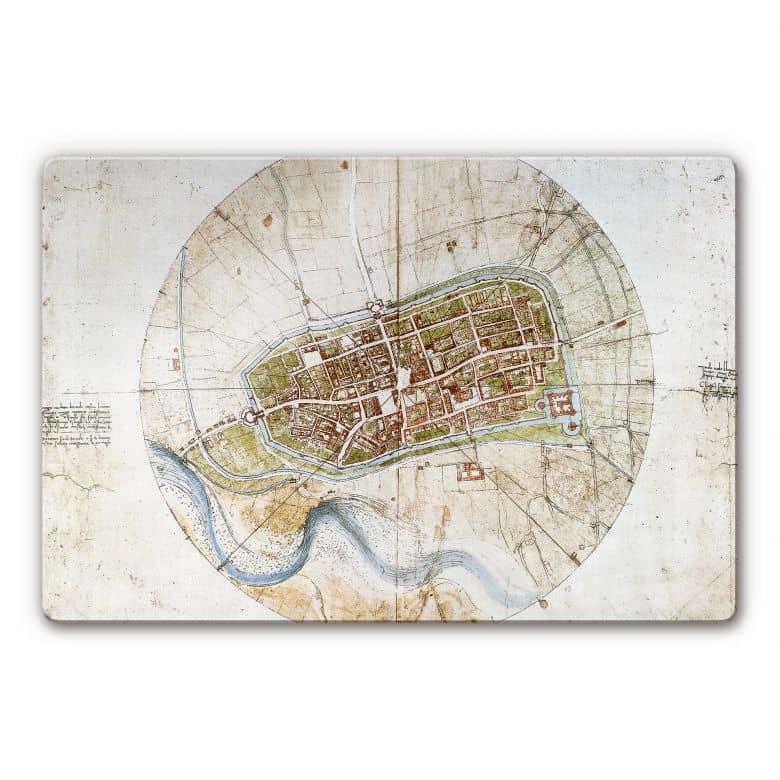 Glasbild da Vinci - Stadtplan von Imola
