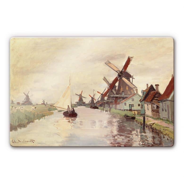 Glasbild Monet - Holländische Landschaft mit Windmühlen
