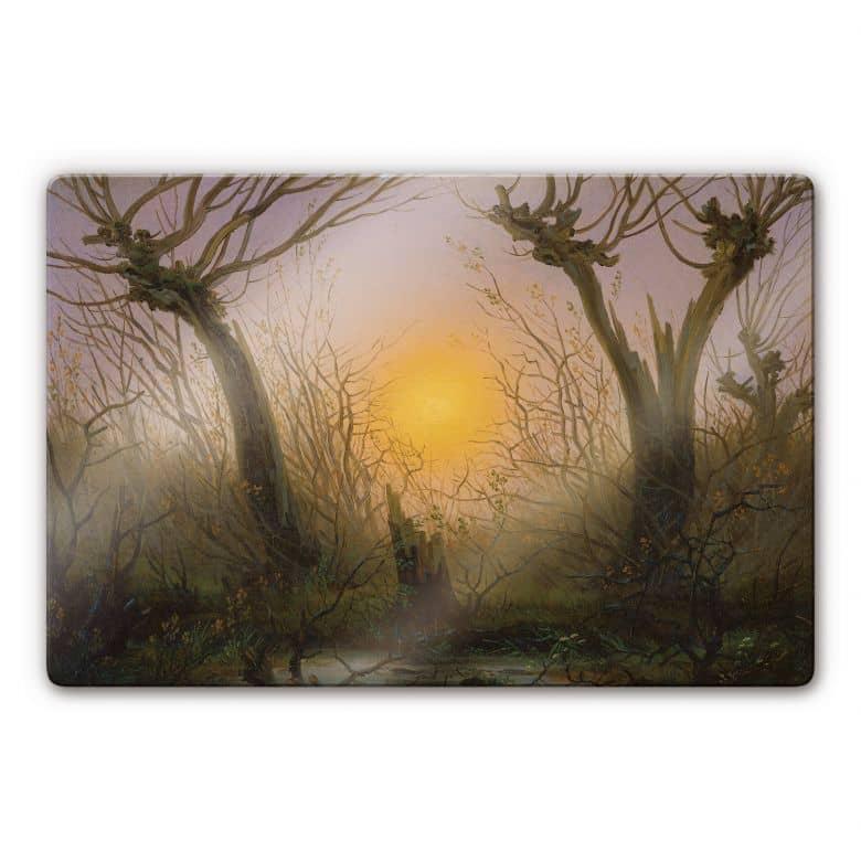 Glasbild Friedrich - Waldlandschaft bei tiefstehender Sonne