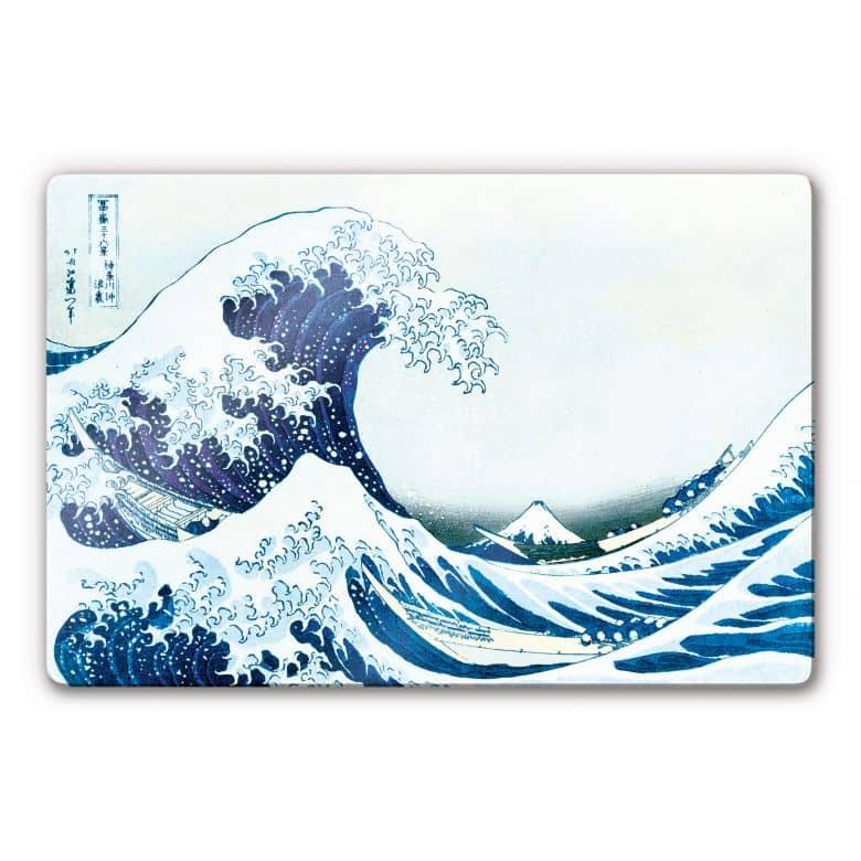 tableau en verre hokusai la grande vague de kanagawa. Black Bedroom Furniture Sets. Home Design Ideas