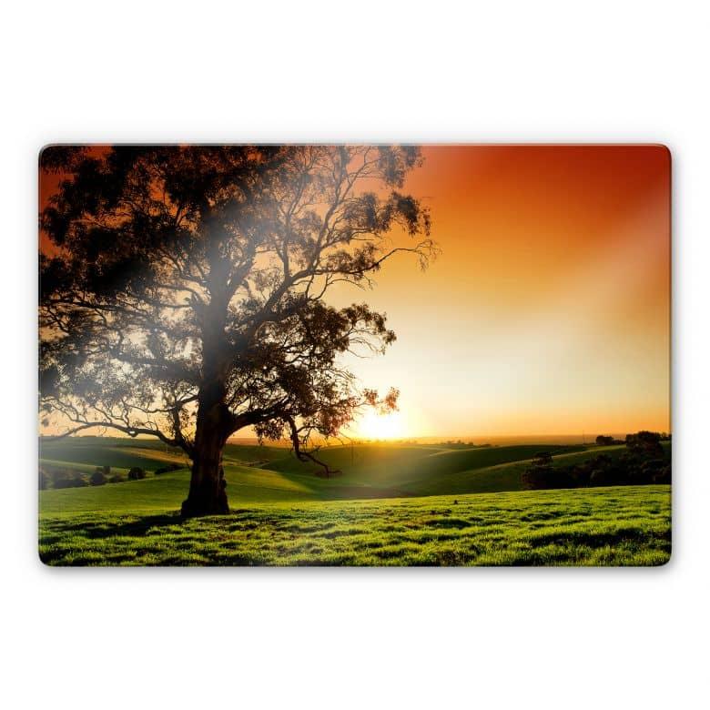 Glasbild Sonnenuntergang über den Hügeln