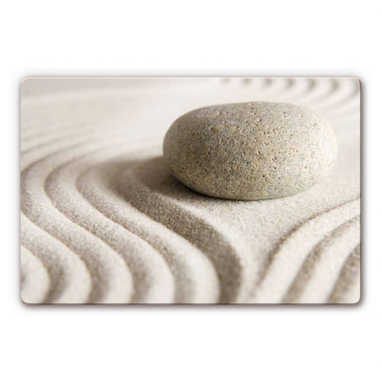 Glasbild Stone in Sand 1