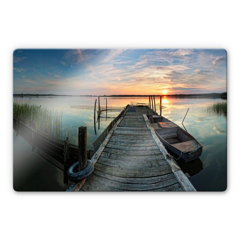 Glasbild Sunset at the lake