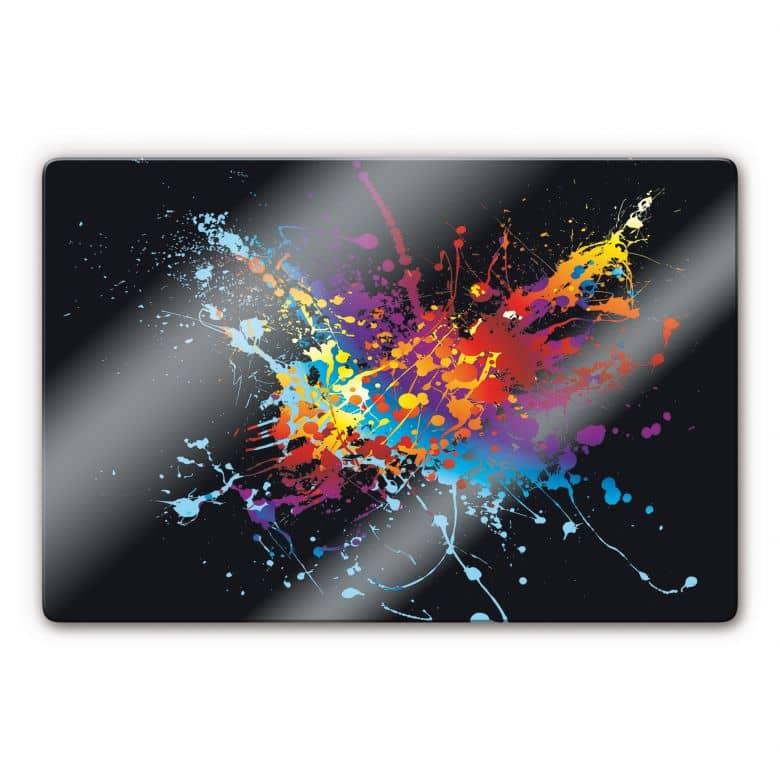 glasbild farbenexplosion stylische dekoration f r die wand wall. Black Bedroom Furniture Sets. Home Design Ideas