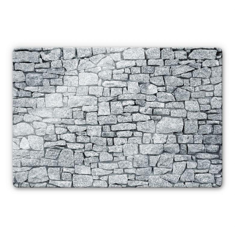 Glasbild Granitmauer