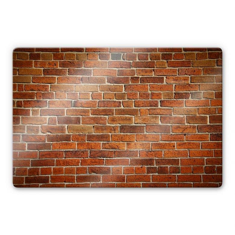 Glasbild Ziegelsteinmauer