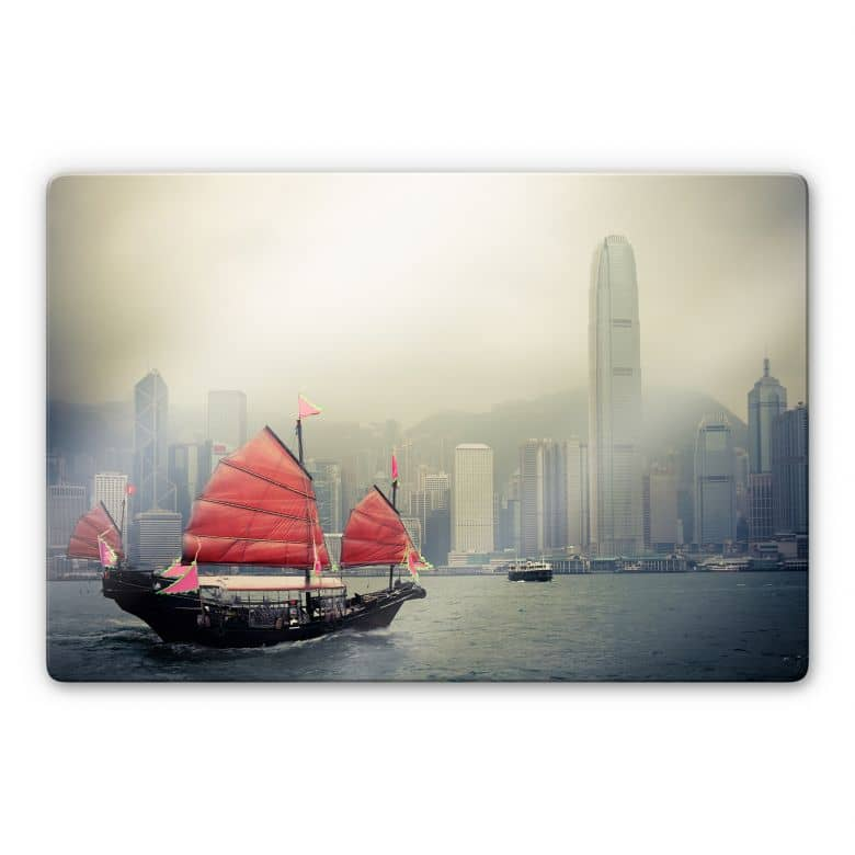 Glasbild Sailing in Hongkong