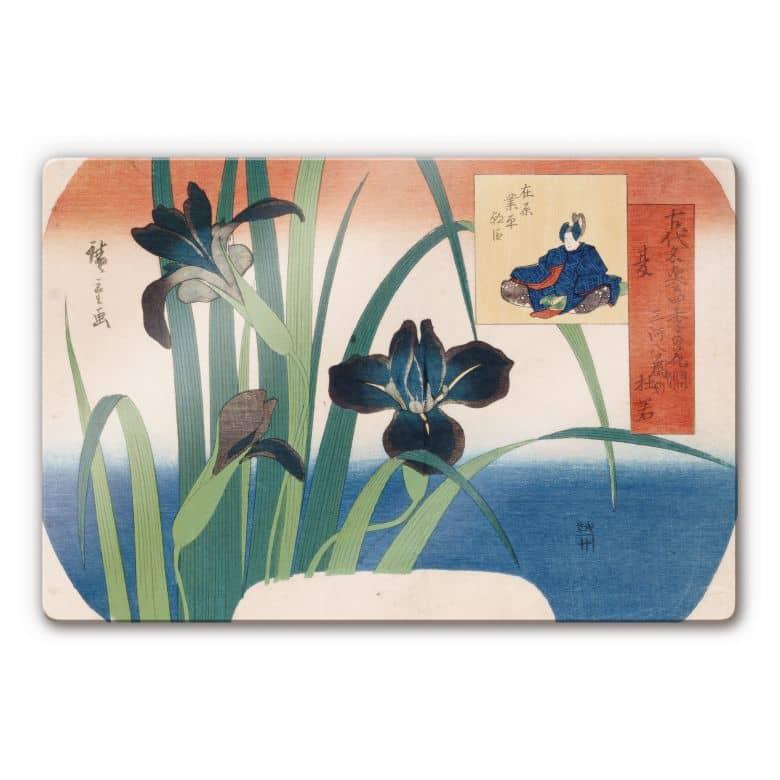 Glasbild Hiroshige - Schwertlilien