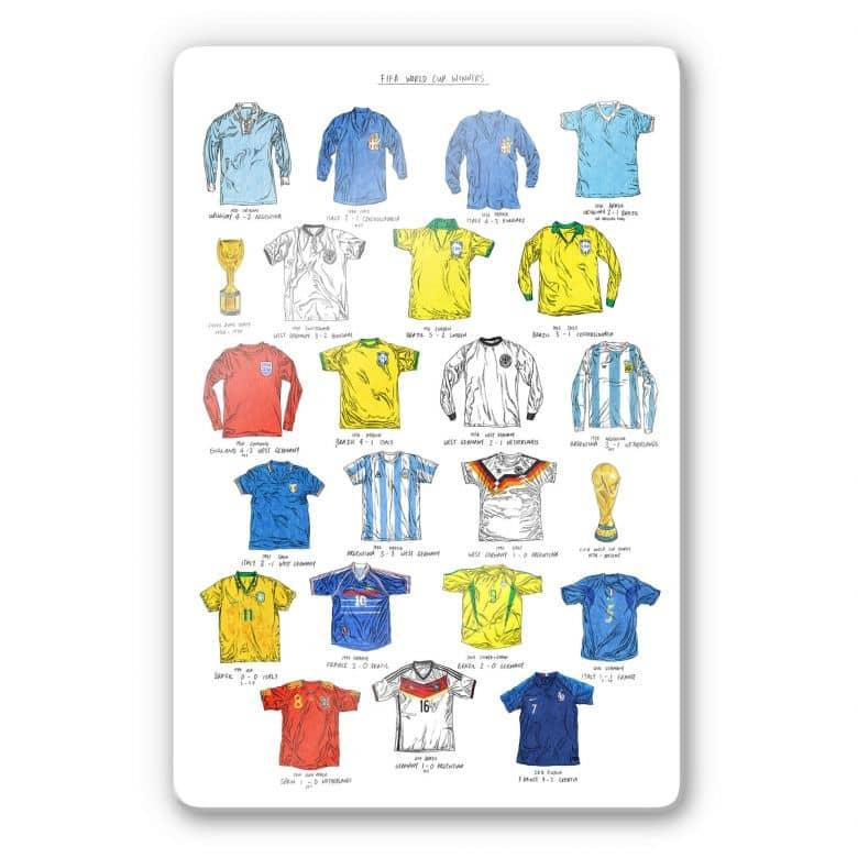 Glasbild Sparshott - Fußballtrikots Weltmeisterschaft