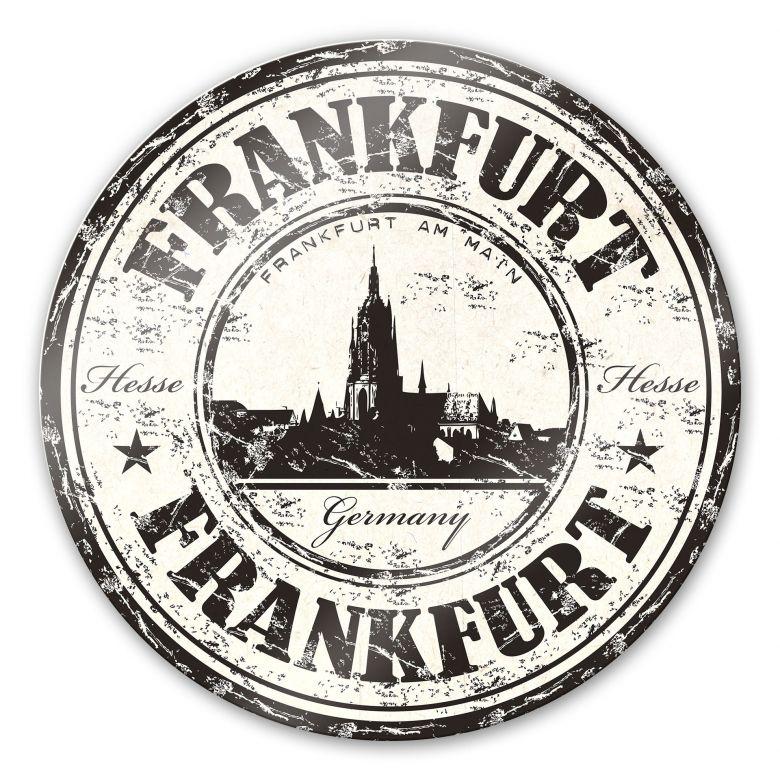 Glasbild Poststempel Frankfurt - rund