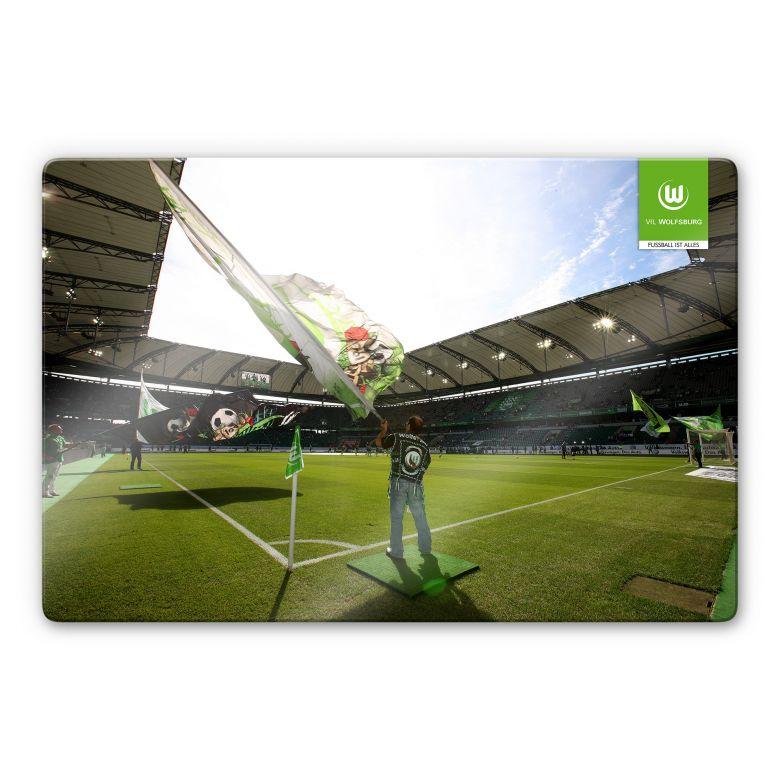 Glasbild VfL Wolfsburg Flaggen