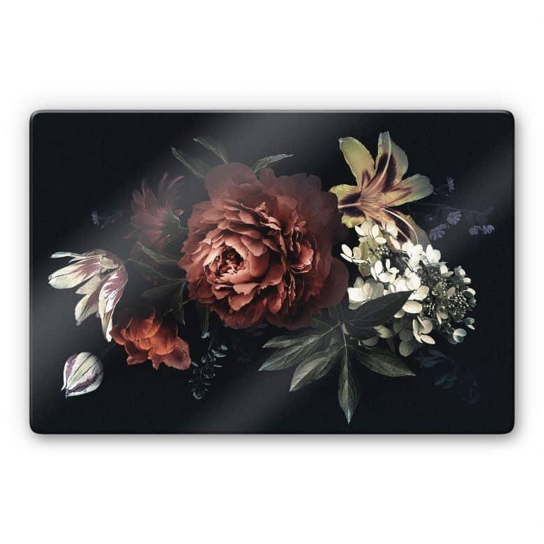 Glasbild - Blumenbouquet Rot