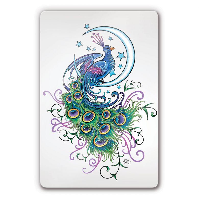 Glasbild LA Ink Pfau im Mond
