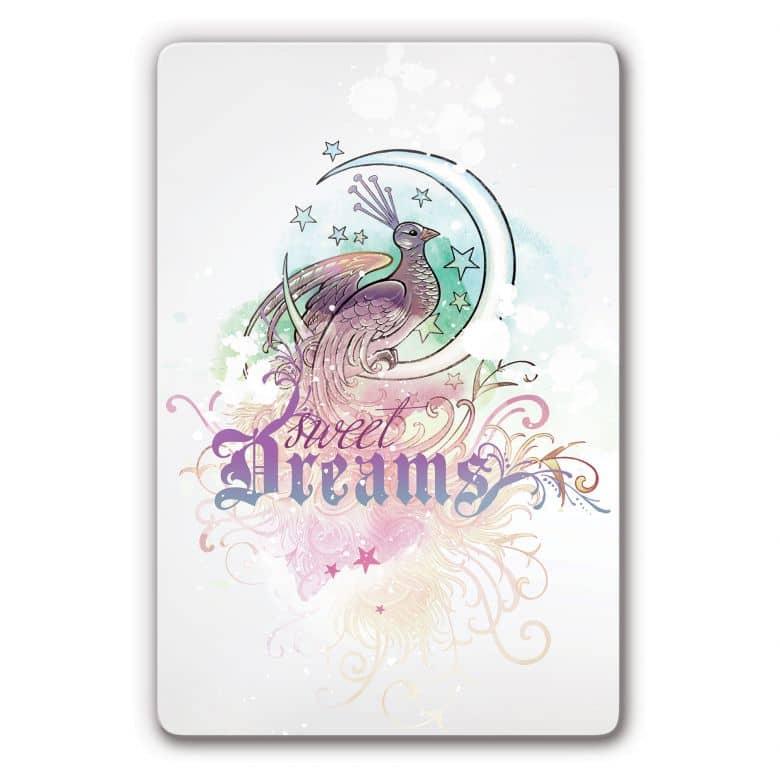 Glasbild LA Ink Pfau Sweet Dreams