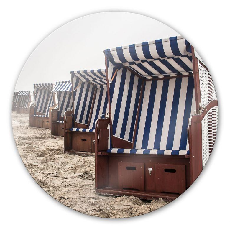 Glasbild Strandkorb auf Norderney - rund