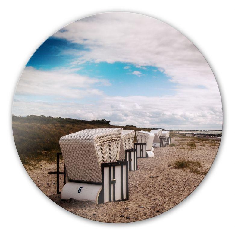 glasbild strandk rbe auf hiddensee rund sch ne strandkulisse als wanddeko wall. Black Bedroom Furniture Sets. Home Design Ideas