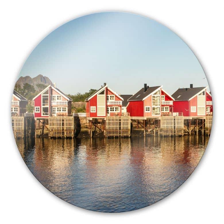 Glasbild Ferienhäuser am Meer - rund