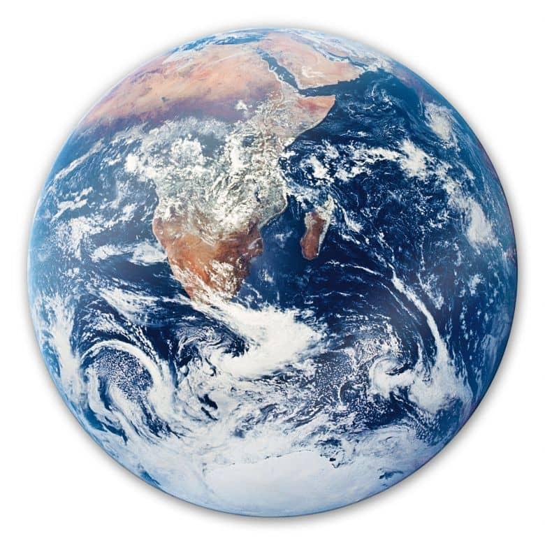 Glasbild Earth complete  - rund