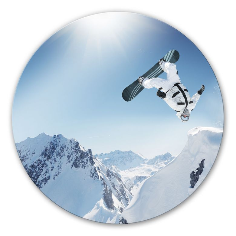 Glasbild Snowboarder - rund