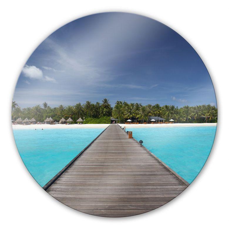 Glasbild Karibik - rund