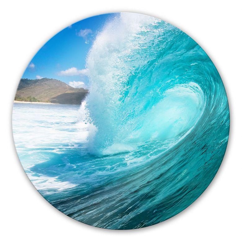 Wave Round Glass Art Wall Art Com