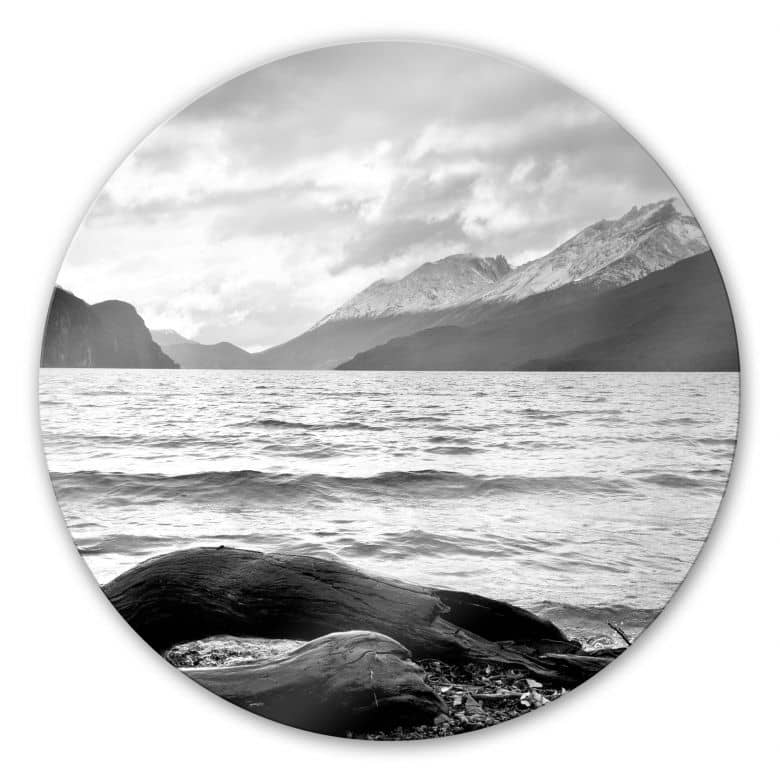 Glasbild Log and Lake - rund