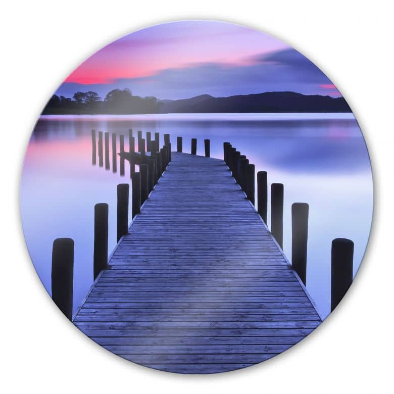 Lake Panorama - Round Glass art