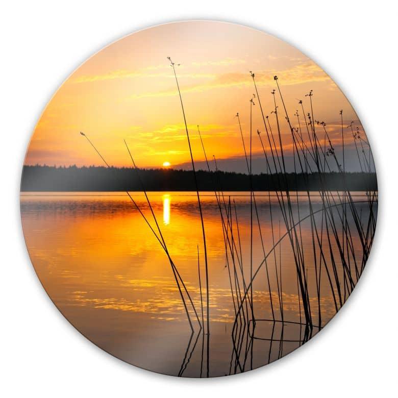 Sunset by the Lake - Round Glass art