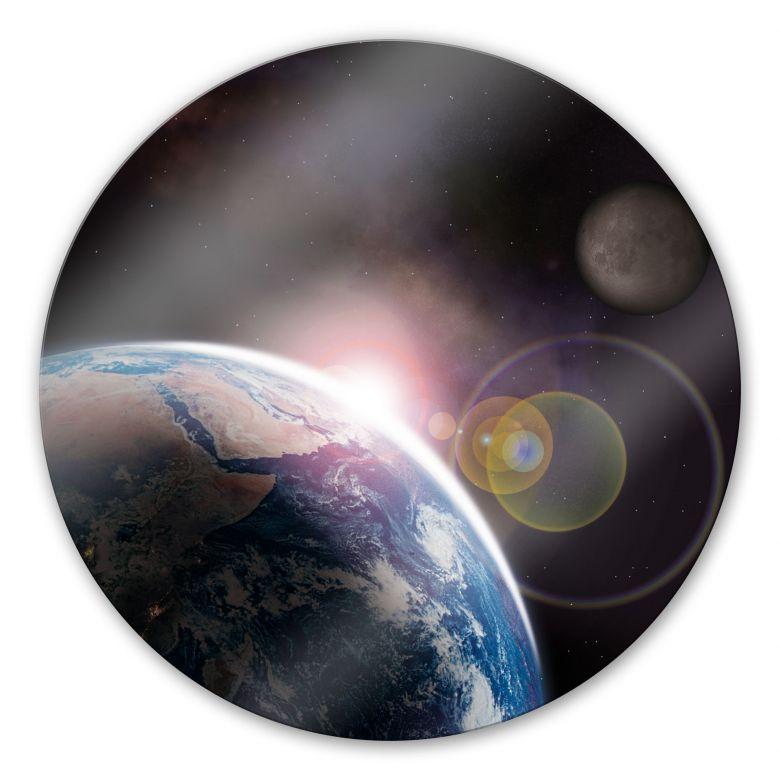 Glasbild Earth 2 - rund