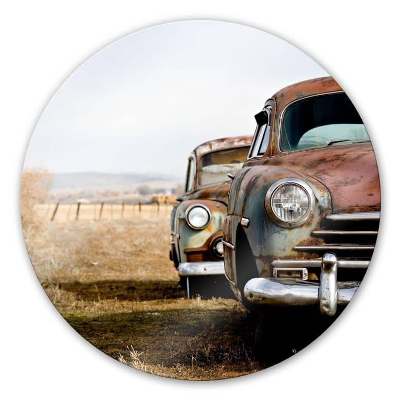 Glasbild Old Rusted Cars - rund